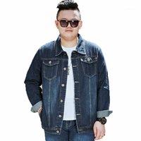 Мужские куртки мужские весенние джинсовые джинсовые плюс размер осень синие джинсы куртка мужчины негабаритные пальто верхняя одежда большая M-5XL 6xL 7xL 8xL1