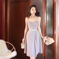 Le Palais Vintage 2020 Original Elegante graue Imitation Seide Chiffon Drapierte Plissee Kleid Spaghetti Strap Knielang Kleider1