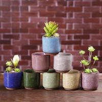 Ice Cracked Mini Keramik Blumentopf bunte nette Blumentopf Für Desktop-Dekoration Fleischig Topfpflanzen Pflanz 8 Farben KKF2276