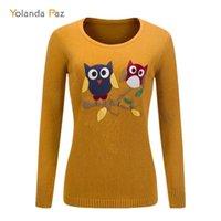 Yolanda Paz New Outono inverno feminino desenho animado coruja padrão mangas compridas o-pescoço de malha pulôver de alta qualidade mulher suéter y200910