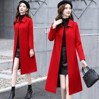 Red double long cultivate morality show thin woolen cloth ca...