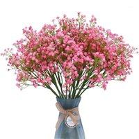 Flores decorativas guirnaldas flor artificial rústica para la mesa de hogar plástico de boda gypsophila babysbreath fake decoration accesorios1