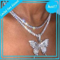 Estatagem grande borboleta pingente colar hip hop gelado out strass para mulheres bling tênis cadeia de cristal animal gargantilha jóias