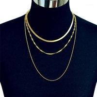 Böhmische dreischichtige Schlangenkette Halskette für Frauen Einfache Party Gold Farbe Halsketten Mode Heißer Verkauf Geschenk Schmuck