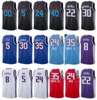 Ville gagné Edition imprimée Basketball Deaaron Fox Jersey 5 Harrison Barnes 40 Marvin Bagley III 35 Tyree Haliburton 0 Violet Noir Blanc