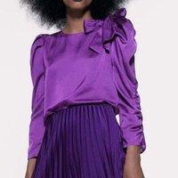 Frauen Blusen Hemden Celmia Fashion Satin Tops Langarm Eleganter Bogen Herbst Beiläufige Plissee Richtlich Lady Blusas Femininas 5XL