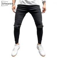 Siteweie мужские спортивные штаны Sexy Hole Jeans брюки вскользь осенью мужчина разорванные тощие брюки тонкий мото байкерские брюки брюки l5251