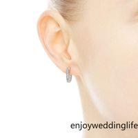 Im Lager 2021 Pavé-Herz-Band-Ohrringe 925 Sterling Silber kleinen Ohrring für Frauen-Männer EARRING Geschenk Braut Hochzeit Schmuck FY4322
