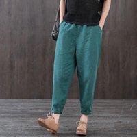 FJE Yeni Varış Yaz Kadın Pantolon Artı Boyutu Gevşek Ince Pamuk Keten Ayak Bileği Uzunlukta Pantolon Elastik Bel Rahat Harem Pantolon D46 201012