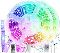 LED 스트립 조명 32.8ft, RGB 색상 변경 로프 빛 44 키 IR 원격, 5050 RGB IP65 방수, 안전한 UL 등록 된 전원 어댑터