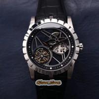 JBF V2 версия Excalibur RDDBEX0393 набор скелета TRUEBILLON RD505SQ Автоматические мужские часы Серебряный стальной корпус кожаный ремешок роскошные часы