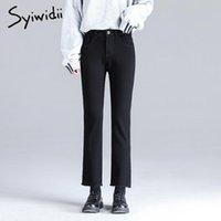 syiwidii droit élevé des jeans femmes vintage occasionnels pompon 4 couleurs, plus la taille des femmes taille pantalon pantalons en denim solides 2020 mode