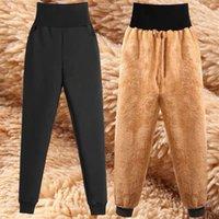 İnce Kadınlar Pantolon Kış Kuzu Derisi Kaşmir Pantolon Sıcak Kadın Rahat Pantolon Harem Pantolon Kaplı Polar Pantolon Sonbahar Sweatpants Q0112