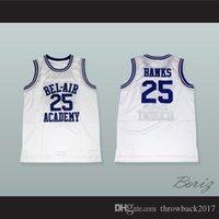 NCAA Carlton Banks 25 Академия Бел-Академии Белый Баскетбол Джерси-1 Пользовательское любое имя Любое имя Бесплатная доставка Размер S-XXL