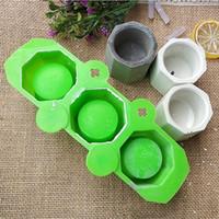 3 отверстия круглый геометрический полигональный бетон цветочный горшок ваза формы кактус цементные формы силиконовые DIY ароматерапия свеча украшения