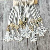 1 adet El Yapımı Altın Charm Kolye CZ Mikro Açacağı Bağlayıcı, Doğal Kabuk Inci Boncuk Zincir Püsküller Kadınlar Takı Kolye 201211