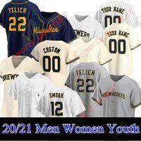 Baseball Homens Mulheres Crianças 22 Christian Yelich 2020 Temporada Josh Hader Woodruff Lorenzo Cain Ryan Braun Brent Suter Arcia Brewer Jerseys