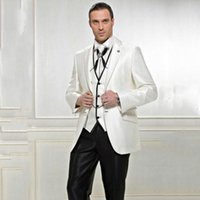 Custom made 2020 New Design Groom Tuxedos Best man Wedding Groomsman Suit Groomsman Black ivory Bridegroom Suits (Jacket+Pants+Tie+Vest) 791