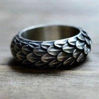 خواتم العنقودية قطرة فايكينغ الدائري نورس التنين الموازين الاسكندنافية مجوهرات ريشة dragonscale للنساء الرجال amule1