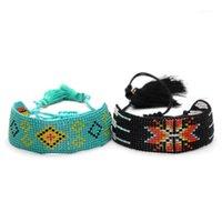 Boho Braccialetto multicolore del seme multicolore del seme del braccialetto tribale delle donne della boemia della boemia Nappe di cotone cerate Regalo di gioielli regolabili