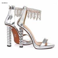 Sandales Summer Cuir chaussures pour femmes avec strass authentique super star mode de mode 12cm Houxi show 3-8 9 maiern1