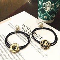 Hårklipp Barrettes Kvinnors Elastiska Svartvit Kamellia Flower Band Slips Mode Pearl Girl Accessories1