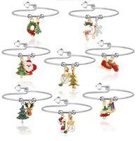 Noel Takı Bilezik Noel Baba Ren geyiği Noel ağacı Şeker Kamışı kolye Bileklik Bilek Bilezikler Kadınlar Metal Halka Bileklik Oyuncak LY11091