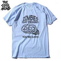 O coolmind casual O-pescoço solto zumbis comer cérebro homens t-shirt manga curta 100% algodão crewneck legal mens engraçado mens t shirt1