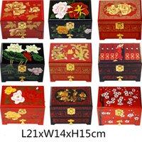 3 camadas gaveta puxa para fora da caixa de jóias caixa de decoração com bloqueio de casamento de madeira chineses Lacquerware Jóias Boxes