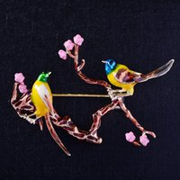 Pins, Brooches Elegant Peach Blossom Double Birds Enamel Pin Female Costume Scarf Bag Pins For Women Men Graceful Vivid Magpie Broche