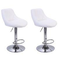 와코 현대 바 의자 높은 도구 유형, 2pcs 조정 가능한 의자 디스크 마름모 등받이 디자인 식당 카운터 펍 의자 화이트