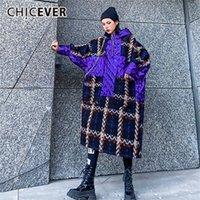 Chicever Lastwork PU кожаный хит цвет женская толстовка с капюшоном фонарь рукава клетки негабаритные пуловеры женские мода 201211