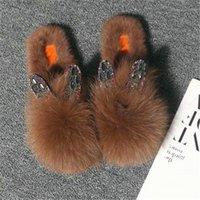 Terlik Aoxunlong Kadınlar Kış Kürklü Moda Rhinestone Kürk Slaytlar Bayanlar Peluş Ayakkabı Bayan Sıcak Kabarık Flip Flop Cute1