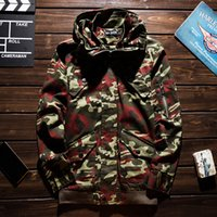 Mens Winter Coats Fashion Autumn Mens Jacket Camouflage Hooded Zipper Windbreaker Casual Men Winter Jacket 5 Colors Size M-3XL