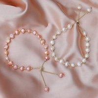 Природные пресноводные жемчужины с бисером браслет для женщин мода жемчужный браслет с сплавом в гибкой длине для дам