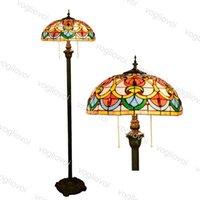 Напольные лампы Европейская ретро многоцветный стеклянный паттерн 16 дюймов 110-240V ногой / на молнии / на молнии для гостиной столовой спальня бар DHL