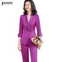 Женские брюки из двух частей Naviu моды фиолетовые костюмы элегантные блейзер и брюки кусочки набор формальной рабочей одежды Офисная леди форма