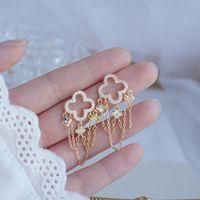 Fascino 14k Real Gold Style Style Nappe per Lady Elegante Zirconia Goccia Goccia Orecchino Feminia Gorgeous Gioielli Accessori