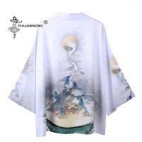 Ropa étnica Yukata Mujeres Kimono Cardigan Hombres Japón Tradicional Camisa Unisex China Estilo Masculino Dragón Carpa Imprimir Abrigo Cosplay Costume1