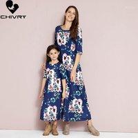 Roupas de correspondência de família 2021 mãe mãe filha vestidos meia manga floral impressão maxi vestido mamãe e roupas de sundress1