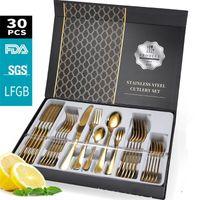 30 pièces Kubac Hommi plaqué or doré dîners de vaisselle de couteau de couteau de couteau de coutellerie jeu de couverts de couverture de couverture en argent noir 201116