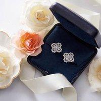 Dangle & Chandelier Earring Four-leaf Clover Earrings Jewelry S925 Sterling Silver Ear Pin Women High Christmas Party Gift11