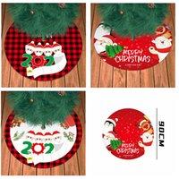 90 centimetri Plaid Stampato Albero Gonne Ornamento Viso Natale Maschera Famiglia creativa Xmas Tree inferiore casa natale partito Decor CYF4496
