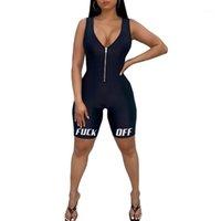 Kadınlar Derin V Yaka Düşük Kesim Yoga Set Tulum Kolsuz Ön Fermuar Tulum Bodycon Slim Dış Giyim Spor Romper Kıyafetler / BY1
