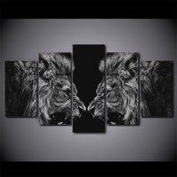 5 Piezas Negro blanco del Cabeza Pintura lienzo de la lámina decoración de la habitación impresión de la pintura Impresiones Imagen lienzo