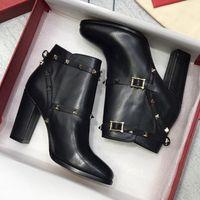 Женские на высоких каблуках ботинки зимние кожаные туфли с верхним гранулированным теленокскинкой заклепки 2021 новая мода Австралия ковбойские боевые боевые