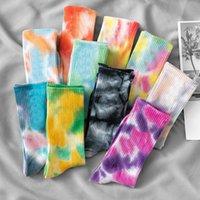 Nuevos calcetines del tubo de la mitad teñidos de la corbata calcetines de la moda de la calle para los hombres mujeres grandes niños algodón monopatín Hiphop Sport Basketball Socks M2996