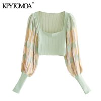 KPYTOMOA Women Fashion Pleated Cropped Knitted Blouses Vintage Square Collar Long Sleeve Female Shirts Blusas Chic Tops 201028