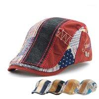 Boinas [Jamont] Moda Visor Cap Hombres Mujeres Boina Primavera Otoño Hueso Hats Patchwork Rayado Patillas Planos Casquette Casual Gorras1