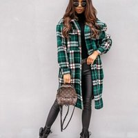 Casual Plaid Long Shirt Coats and Jackets Women Autumn Winte...
